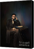 Assassination Canvas Prints -  Abraham Lincoln Canvas Print by Andrzej  Szczerski
