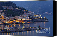 Amalfi Coast Canvas Prints -  Amalfi at Night Canvas Print by George Oze