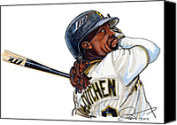Pittsburgh Pirates Drawings Canvas Prints -  Andrew Mccutchen Canvas Print by Dave Olsen