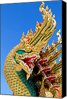 Old Sculpture Canvas Prints -  Asian temple dragon   Canvas Print by Panyanon Hankhampa