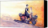 Holiday Canvas Prints -  Audrey Hepburn and Vespa in Roma Holidey  Canvas Print by Yuriy  Shevchuk