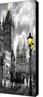 Prague Digital Art Canvas Prints -  BW Prague Old Town Squere Canvas Print by Yuriy  Shevchuk