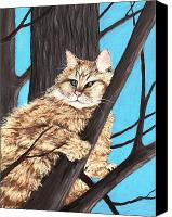 Forest Pastels Canvas Prints -  Cat on a Tree Canvas Print by Anastasiya Malakhova