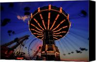 Fun Fair Canvas Prints -  Chain Swing at Sunset Canvas Print by George Oze