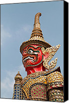 Old Sculpture Canvas Prints -  Demon Guardian Statues at Wat Phra Kaew Canvas Print by Panyanon Hankhampa