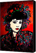 Hairstyle Mixed Media Canvas Prints -  Geisha Girl Canvas Print by Natalie Holland