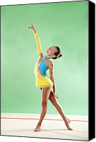 Color Stretching Canvas Prints - Gymnast, Smiling, Pose, Arm Up Canvas Print by Emma Innocenti