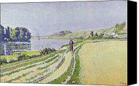 Signac Canvas Prints -  Herblay La River  Canvas Print by Paul Signac