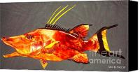 Fish Reliefs Canvas Prints -  Hog Snapper Fish Sculpture Canvas Print by Douglas Snider