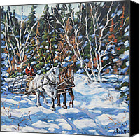 Quebec Painting Canvas Prints -  Horses Hauling wood in winter by Prankearts Canvas Print by Richard T Pranke