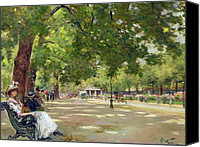 Oil Lamp Painting Canvas Prints -  Hyde Park - London Canvas Print by Count Girolamo Pieri Nerli