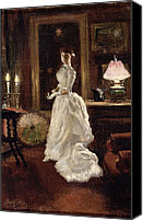 Cream Dress Canvas Prints -  Interior scene with a lady in a white evening dress  Canvas Print by Paul Fischer