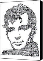 Ink Canvas Prints -  Jack Kerouac Black and White Word Portrait Canvas Print by Smock Art