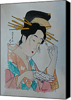 Signed Mixed Media Canvas Prints -  Japan Wood Block  Painting Canvas Print by Robert Tarzwell