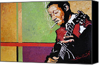 Figurative Canvas Prints -  Jazz Guitarist Canvas Print by Yuriy  Shevchuk