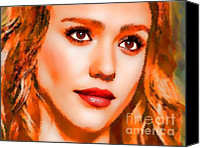 Jessica Alba Mixed Media Canvas Prints -  Jessica Alba Portrait A Canvas Print by Andre Drauflos