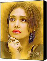 Jessica Alba Mixed Media Canvas Prints -  Jessica Alba Portrait C Canvas Print by Andre Drauflos