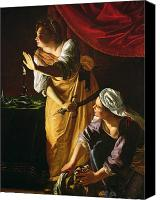 Story Canvas Prints -  Judith and Maidservant with the Head of Holofernes Canvas Print by Artemisia Gentileschi