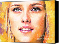 Kristen Stewart Canvas Prints -  Kristen Stewart Portrait E Canvas Print by Andre Drauflos