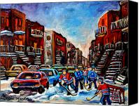 Hockey In Montreal Painting Canvas Prints -  Late Afternoon Street Hockey Canvas Print by Carole Spandau