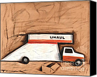 Transportation Painting Canvas Prints -  Moving Truck Canvas Print by Tommervik