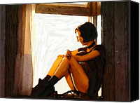 Expressionism Pastels Canvas Prints -  Natalie as Mathilda in Leon Canvas Print by Stefan Kuhn