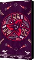 Cloth Tapestries - Textiles Canvas Prints -  Native American Designs in the Round Canvas Print by Anne-Elizabeth Whiteway