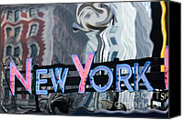 Distortion Canvas Prints -  New York Neon Sign Canvas Print by Sophie Vigneault