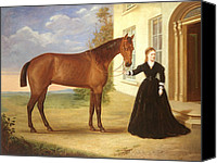 Manor Painting Canvas Prints -  Portrait of a lady with her horse Canvas Print by English School