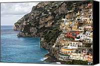 Amalfi Coast Canvas Prints -  Positano Coastline Campania Italy  Canvas Print by George Oze