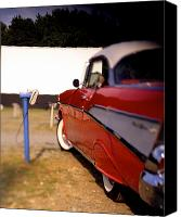Drive Canvas Prints -  Red Chevy at the Drive-In Canvas Print by Robert Ponzoni