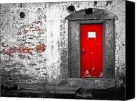 Industrial Canvas Prints -  Red Door Perception Canvas Print by Bob Orsillo