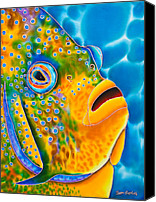 Silk Postcard Tapestries - Textiles Canvas Prints -  Spotted Angelfish Canvas Print by Daniel Jean-Baptiste