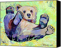 Animal Greeting Card Canvas Prints -  Spring Frolic Canvas Print by Pat Saunders-White