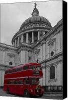 London Skyline Canvas Prints -  St Pauls Cathedral Red Bus Canvas Print by David French