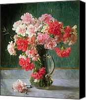 Carnation Canvas Prints -  Still life of Carnations   Canvas Print by Emile Vernon