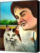 Oil Cat  Canvas Prints -  Susan Boyle with her cat Pebbles Canvas Print by Dan Haraga