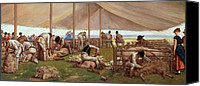 Match Painting Canvas Prints -  The Sheep Shearing Match Canvas Print by Eyre Crowe
