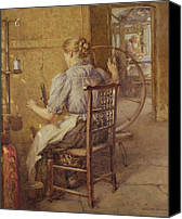 Turning Painting Canvas Prints -  The Spinning Wheel  Canvas Print by Frederick William Jackson