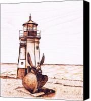 Lighthouse Pyrography Canvas Prints -  Vermilion Lighthouse Canvas Print by Danette Smith