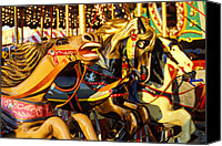 Merry-go-round Canvas Prints -  Wild carrousel horses  Canvas Print by Garry Gay