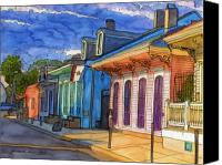 Louisiana Drawings Canvas Prints - 0  French Quarter Houses in Pink and Blue Canvas Print by John Boles