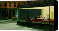 Women Canvas Prints - Hopper: Nighthawks, 1942 Canvas Print by Granger
