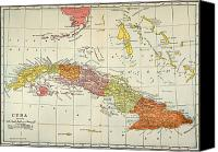Cuba Painting Canvas Prints - Map: Cuba, 1900 Canvas Print by Granger