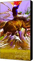 Montana Digital Art Canvas Prints - 06 Bucking Horse ... Montana Art Photo Canvas Print by GiselaSchneider MontanaArtist