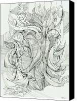 Flowing Drawings Canvas Prints - 0811-2 Canvas Print by Charles Cater