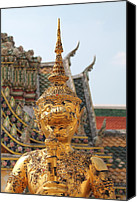 Brown Abstract Tapestries - Textiles Canvas Prints -  Demon Guardian Statues at Wat Phra Kaew Canvas Print by Panyanon Hankhampa