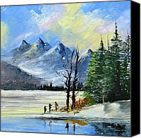 Mountain Scene Ceramics Canvas Prints - 1130b Mountain Lake Scene Canvas Print by Wilma Manhardt