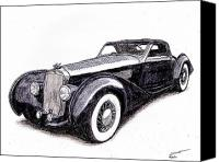 Dan Drawings Canvas Prints - 1938 Delage D8 120 Canvas Print by Dan Poll