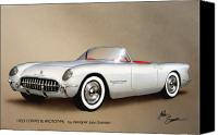 Road Painting Canvas Prints - 1953 CORVETTE classic vintage sports car automotive art Canvas Print by John Samsen